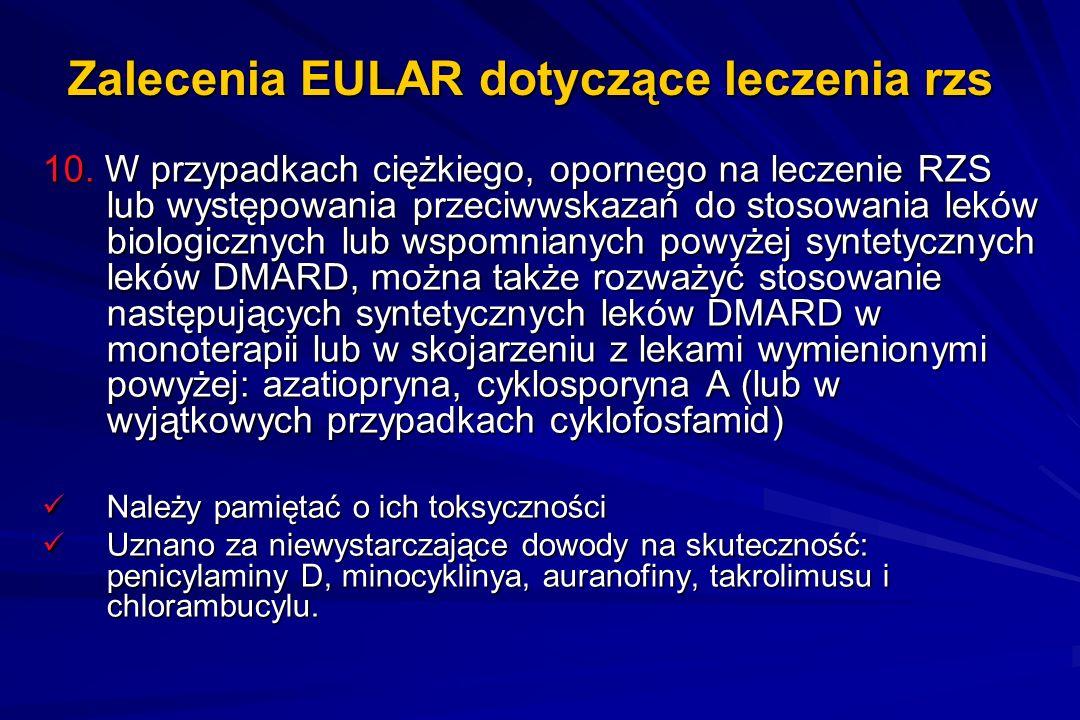 Zalecenia EULAR dotyczące leczenia rzs 10. W przypadkach ciężkiego, opornego na leczenie RZS lub występowania przeciwwskazań do stosowania leków biolo