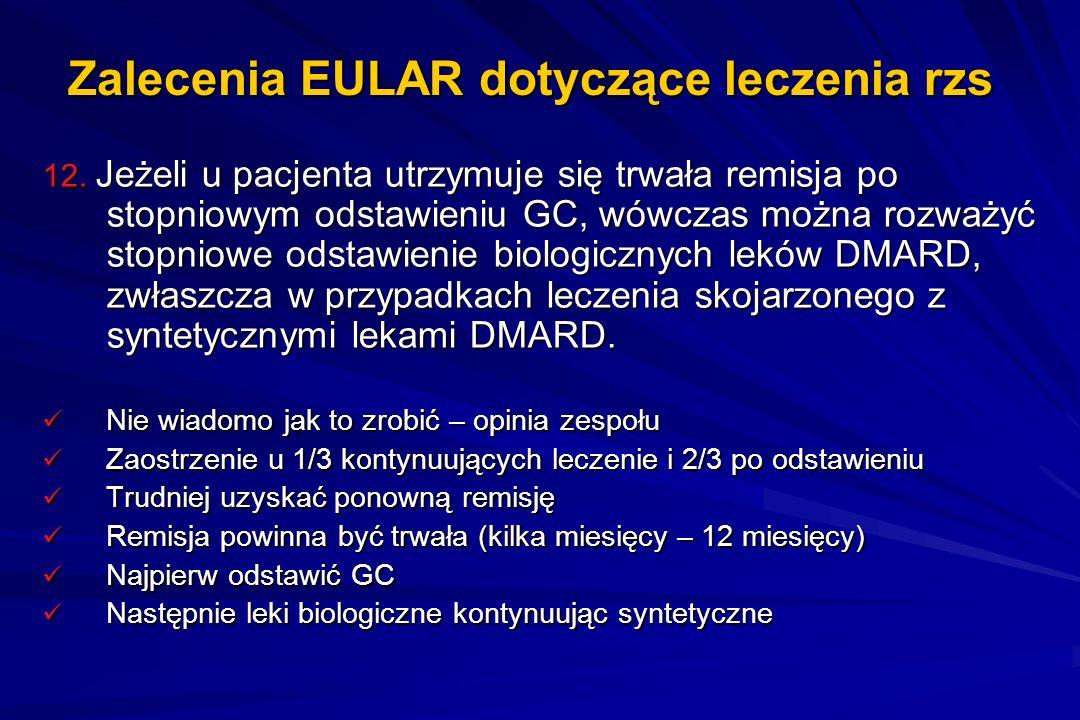 Zalecenia EULAR dotyczące leczenia rzs 12. Jeżeli u pacjenta utrzymuje się trwała remisja po stopniowym odstawieniu GC, wówczas można rozważyć stopnio