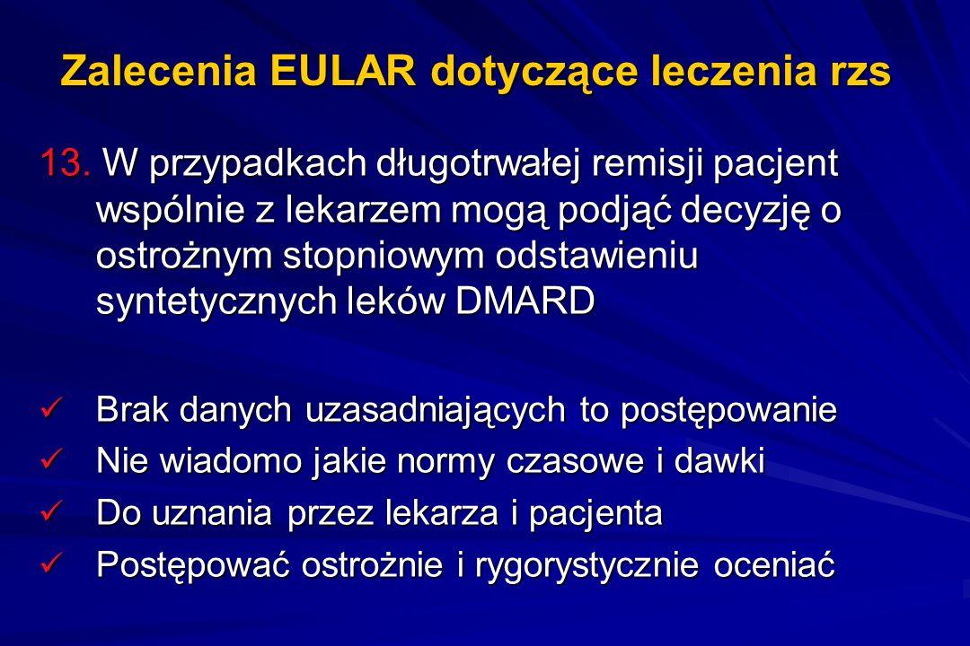 Zalecenia EULAR dotyczące leczenia rzs 13. W przypadkach długotrwałej remisji pacjent wspólnie z lekarzem mogą podjąć decyzję o ostrożnym stopniowym o