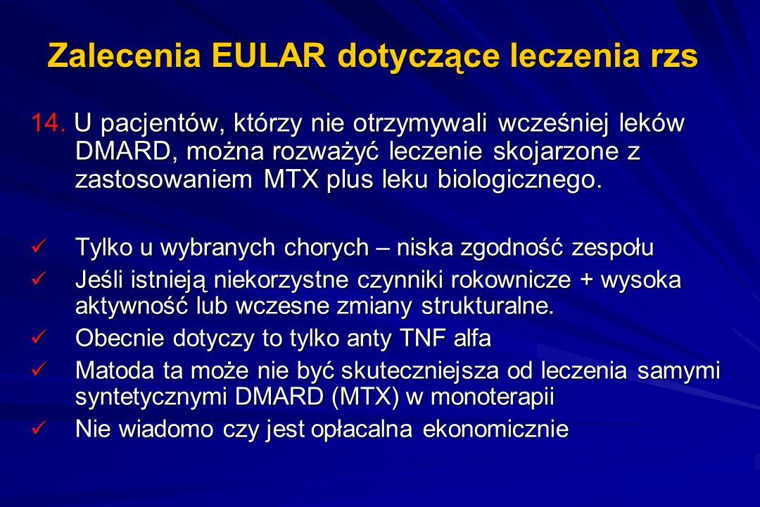 Zalecenia EULAR dotyczące leczenia rzs 14. U pacjentów, którzy nie otrzymywali wcześniej leków DMARD, można rozważyć leczenie skojarzone z zastosowani