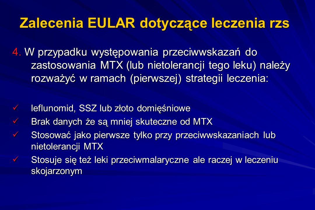 Zalecenia EULAR dotyczące leczenia rzs 4. W przypadku występowania przeciwwskazań do zastosowania MTX (lub nietolerancji tego leku) należy rozważyć w