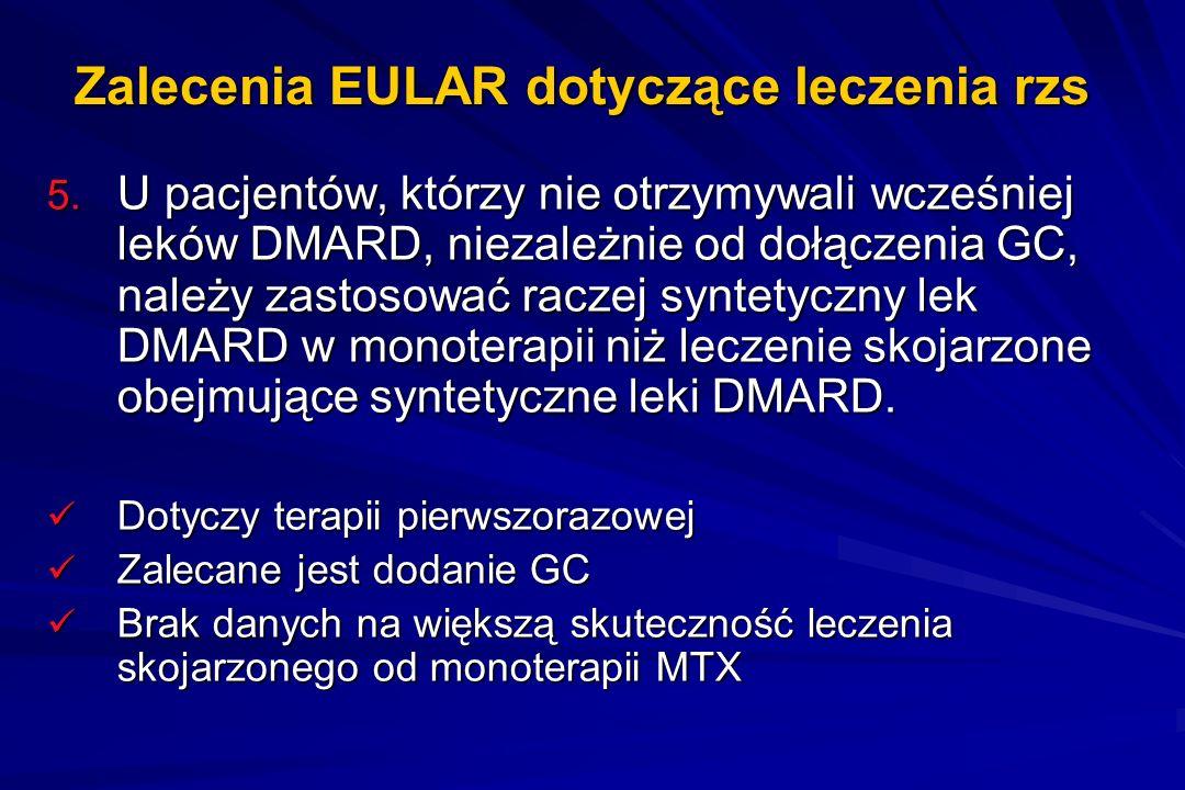 Zalecenia EULAR dotyczące leczenia rzs 5. U pacjentów, którzy nie otrzymywali wcześniej leków DMARD, niezależnie od dołączenia GC, należy zastosować r