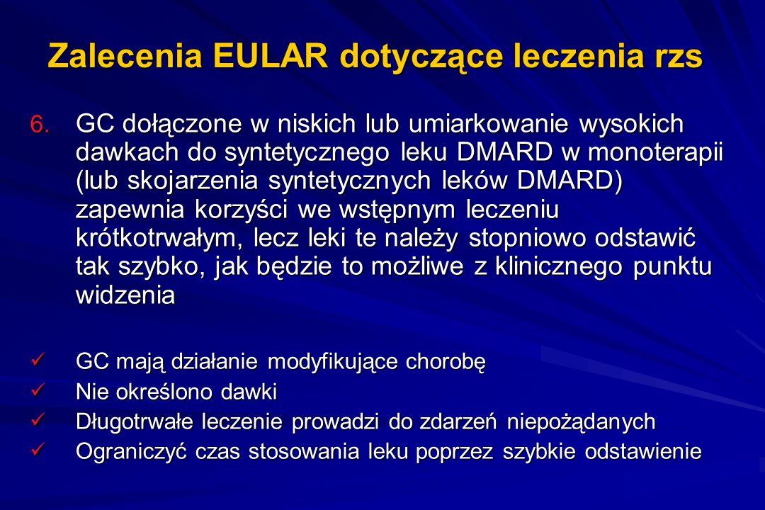 Zalecenia EULAR dotyczące leczenia rzs 6. GC dołączone w niskich lub umiarkowanie wysokich dawkach do syntetycznego leku DMARD w monoterapii (lub skoj