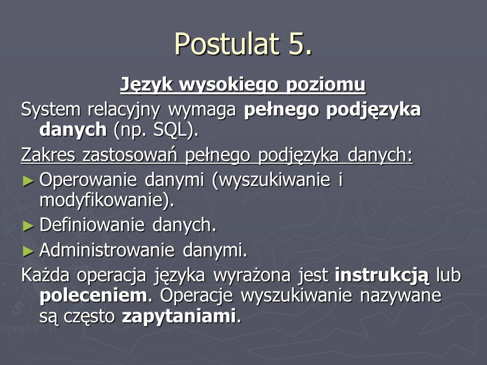 Postulat 5.Język wysokiego poziomu System relacyjny wymaga pełnego podjęzyka danych (np.