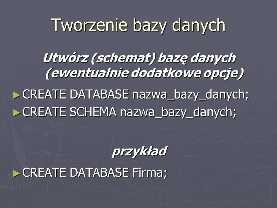 Utwórz (schemat) bazę danych (ewentualnie dodatkowe opcje) CREATE DATABASE nazwa_bazy_danych; CREATE DATABASE nazwa_bazy_danych; CREATE SCHEMA nazwa_bazy_danych; CREATE SCHEMA nazwa_bazy_danych;przykład CREATE DATABASE Firma; CREATE DATABASE Firma; Tworzenie bazy danych