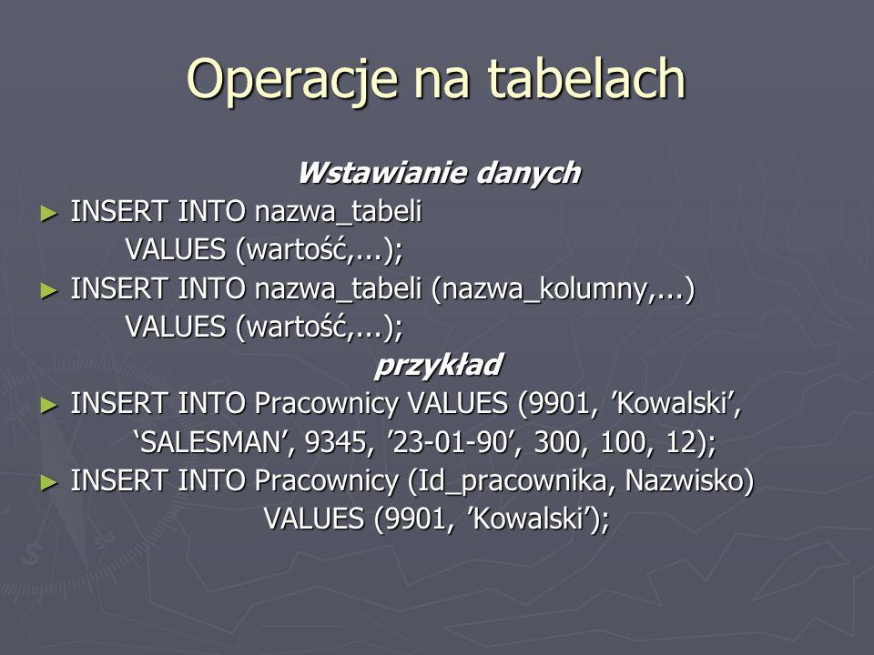 Operacje na tabelach Wstawianie danych INSERT INTO nazwa_tabeli INSERT INTO nazwa_tabeli VALUES (wartość,...); INSERT INTO nazwa_tabeli (nazwa_kolumny,...) INSERT INTO nazwa_tabeli (nazwa_kolumny,...) VALUES (wartość,...); przykład INSERT INTO Pracownicy VALUES (9901, Kowalski, INSERT INTO Pracownicy VALUES (9901, Kowalski, SALESMAN, 9345, 23-01-90, 300, 100, 12); SALESMAN, 9345, 23-01-90, 300, 100, 12); INSERT INTO Pracownicy (Id_pracownika, Nazwisko) INSERT INTO Pracownicy (Id_pracownika, Nazwisko) VALUES (9901, Kowalski);