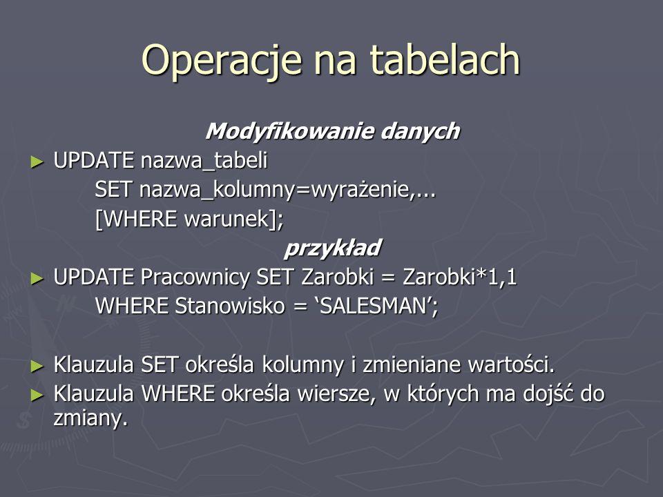 Operacje na tabelach Modyfikowanie danych UPDATE nazwa_tabeli UPDATE nazwa_tabeli SET nazwa_kolumny=wyrażenie,...