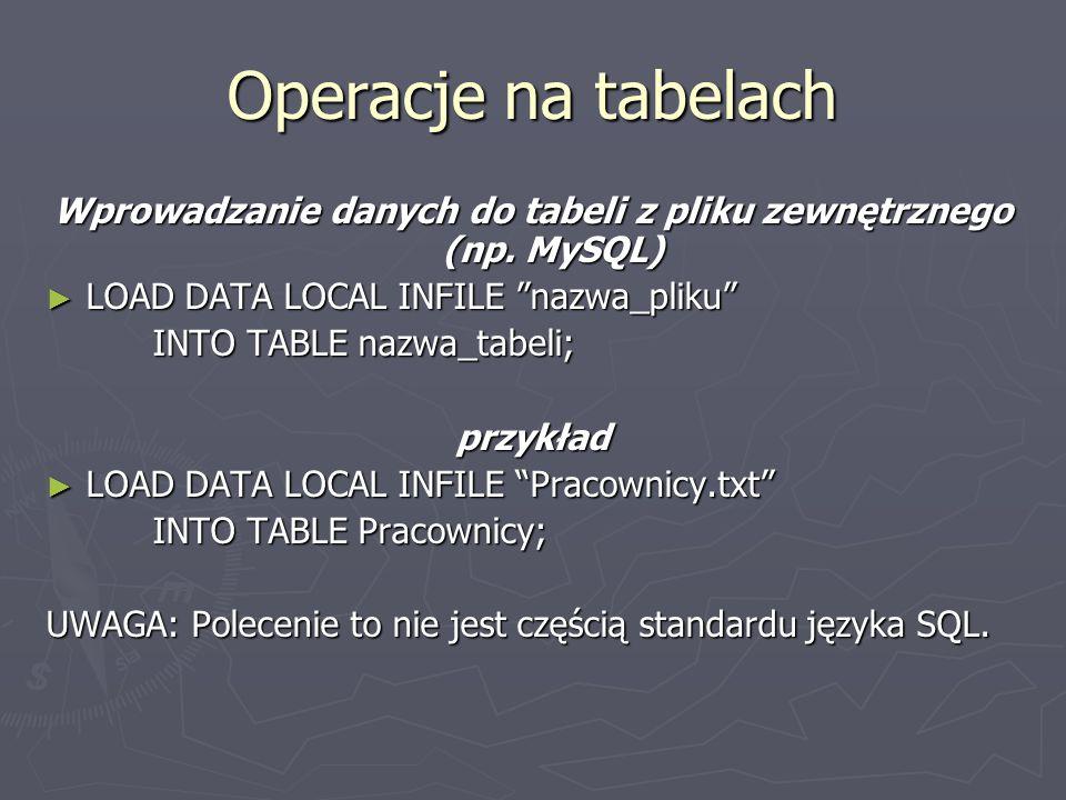 Operacje na tabelach Wprowadzanie danych do tabeli z pliku zewnętrznego (np.