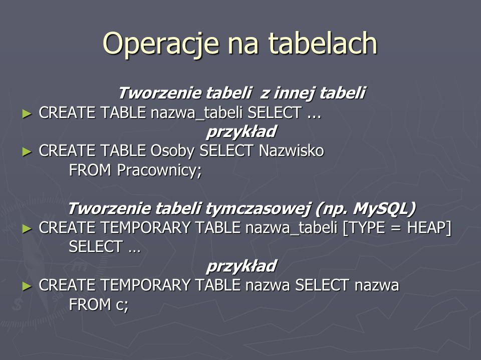Operacje na tabelach Tworzenie tabeli z innej tabeli CREATE TABLE nazwa_tabeli SELECT...
