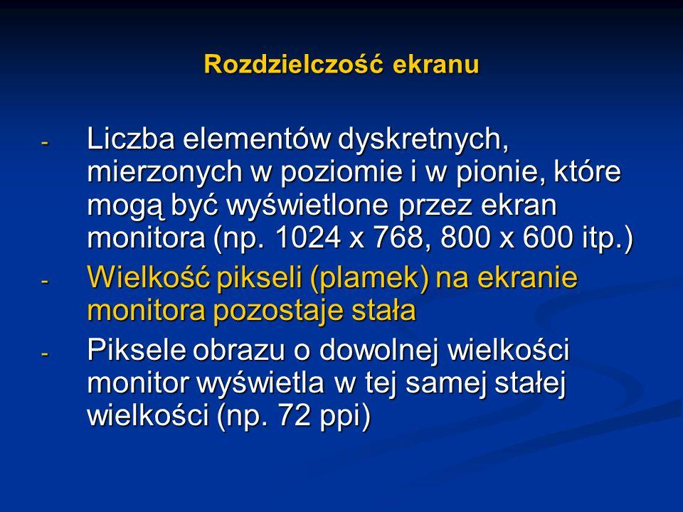 Rozdzielczość ekranu - Liczba elementów dyskretnych, mierzonych w poziomie i w pionie, które mogą być wyświetlone przez ekran monitora (np. 1024 x 768