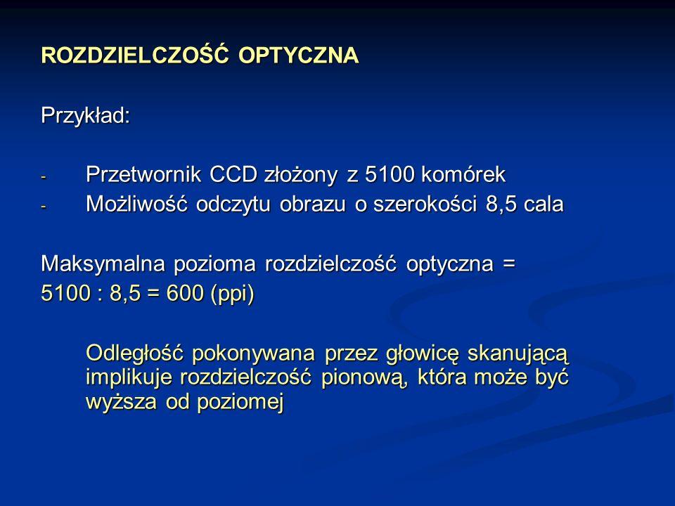ROZDZIELCZOŚĆ OPTYCZNA Przykład: - Przetwornik CCD złożony z 5100 komórek - Możliwość odczytu obrazu o szerokości 8,5 cala Maksymalna pozioma rozdziel