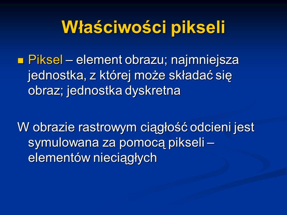 Właściwości pikseli Piksel – element obrazu; najmniejsza jednostka, z której może składać się obraz; jednostka dyskretna Piksel – element obrazu; najm