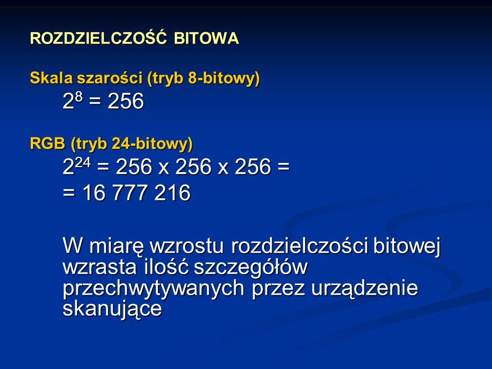 ROZDZIELCZOŚĆ BITOWA Skala szarości (tryb 8-bitowy) 2 8 = 256 RGB (tryb 24-bitowy) 2 24 = 256 x 256 x 256 = = 16 777 216 W miarę wzrostu rozdzielczośc