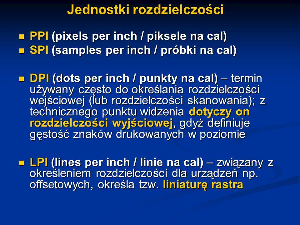 Jednostki rozdzielczości PPI (pixels per inch / piksele na cal) PPI (pixels per inch / piksele na cal) SPI (samples per inch / próbki na cal) SPI (sam