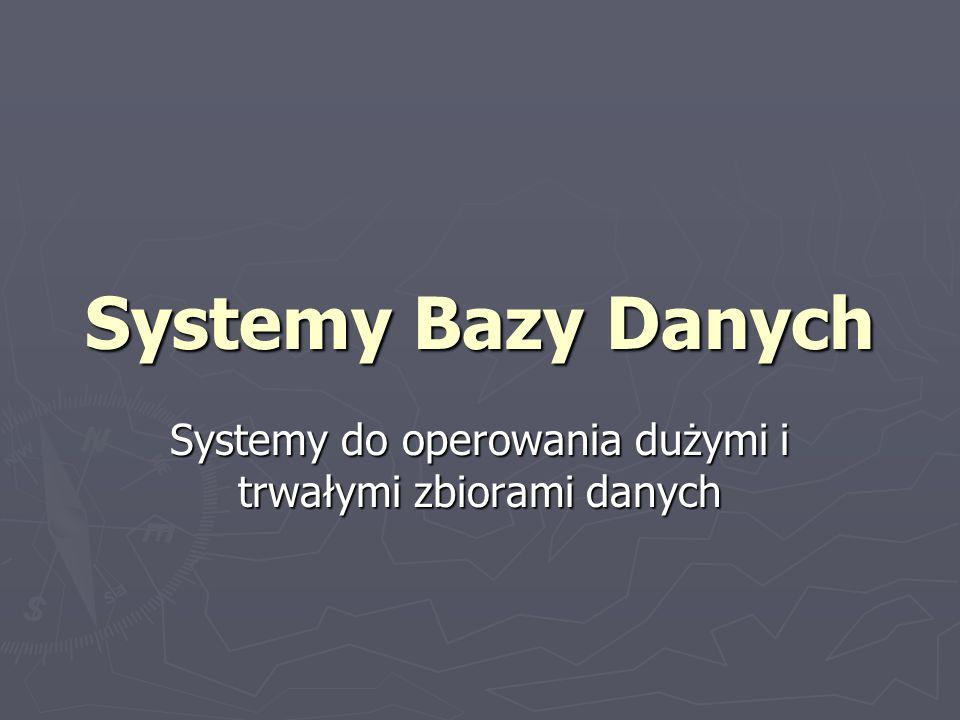 Systemy Bazy Danych Systemy do operowania dużymi i trwałymi zbiorami danych