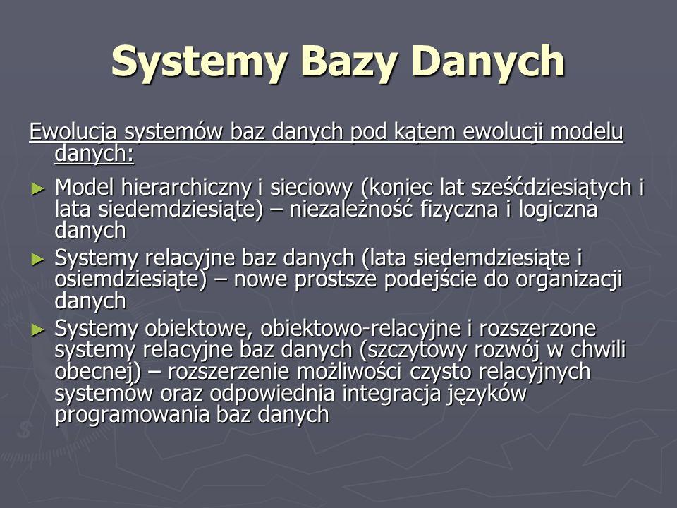 Systemy Bazy Danych Ewolucja systemów baz danych pod kątem ewolucji modelu danych: Model hierarchiczny i sieciowy (koniec lat sześćdziesiątych i lata
