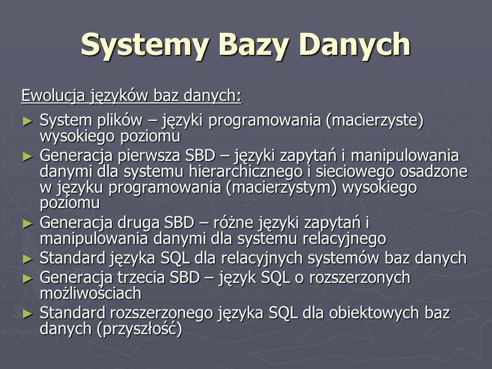 Systemy Bazy Danych Ewolucja języków baz danych: System plików – języki programowania (macierzyste) wysokiego poziomu System plików – języki programow