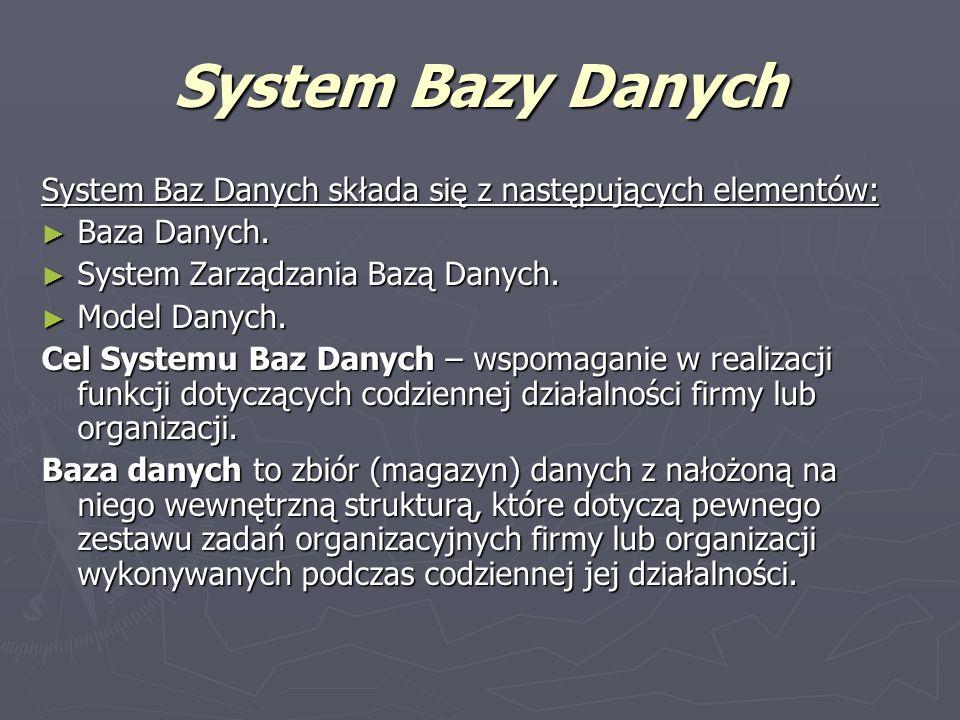 System Bazy Danych System Baz Danych składa się z następujących elementów: Baza Danych. Baza Danych. System Zarządzania Bazą Danych. System Zarządzani