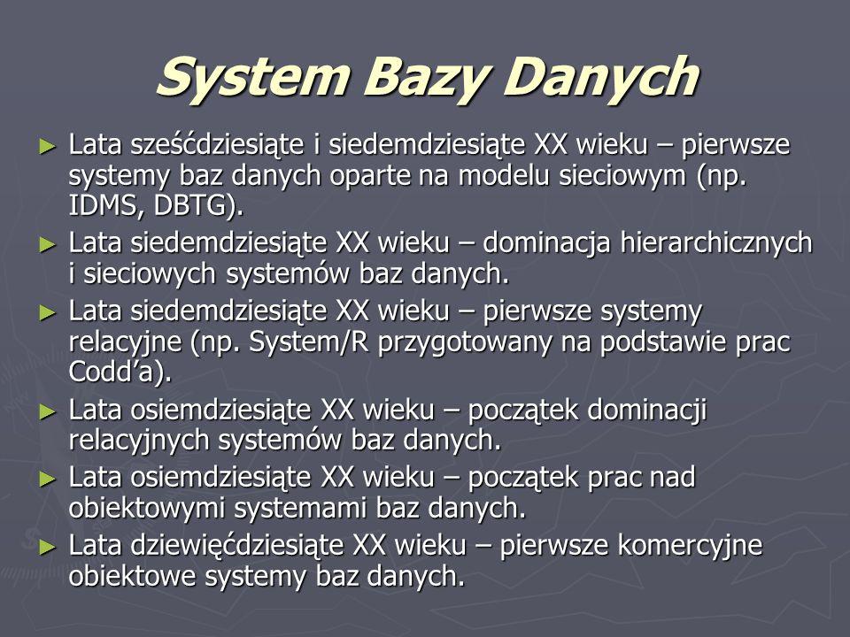 System Bazy Danych Lata sześćdziesiąte i siedemdziesiąte XX wieku – pierwsze systemy baz danych oparte na modelu sieciowym (np. IDMS, DBTG). Lata sześ