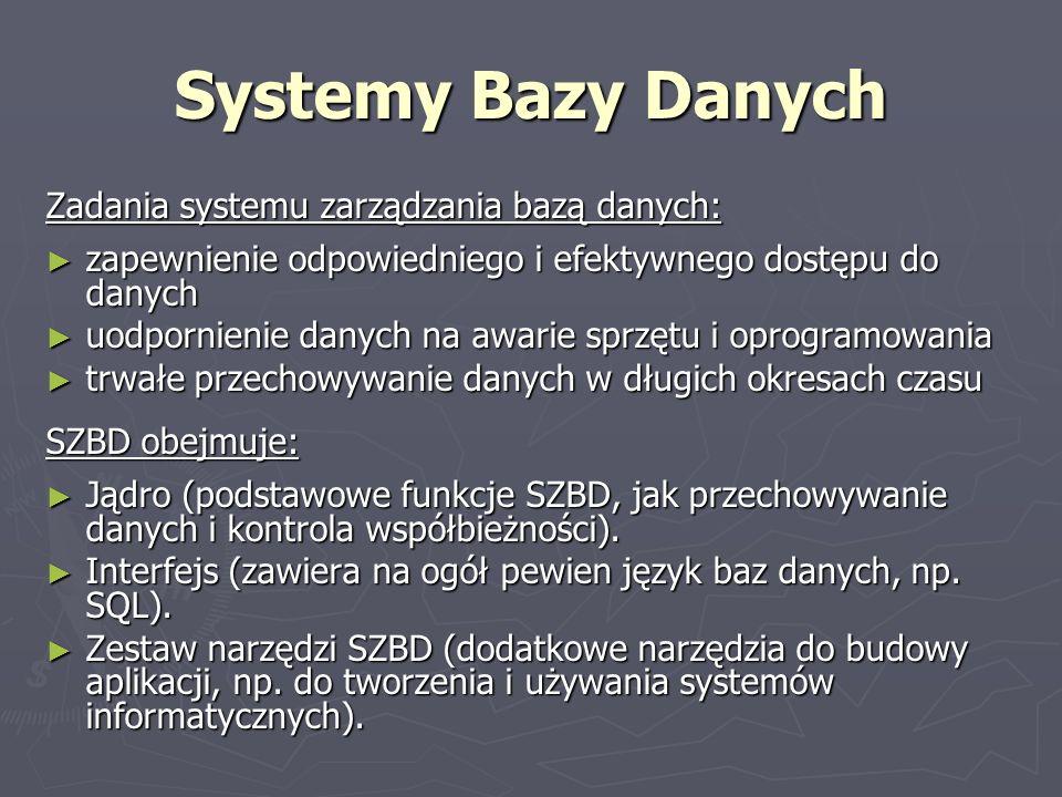 Systemy Bazy Danych Zadania systemu zarządzania bazą danych: zapewnienie odpowiedniego i efektywnego dostępu do danych zapewnienie odpowiedniego i efe