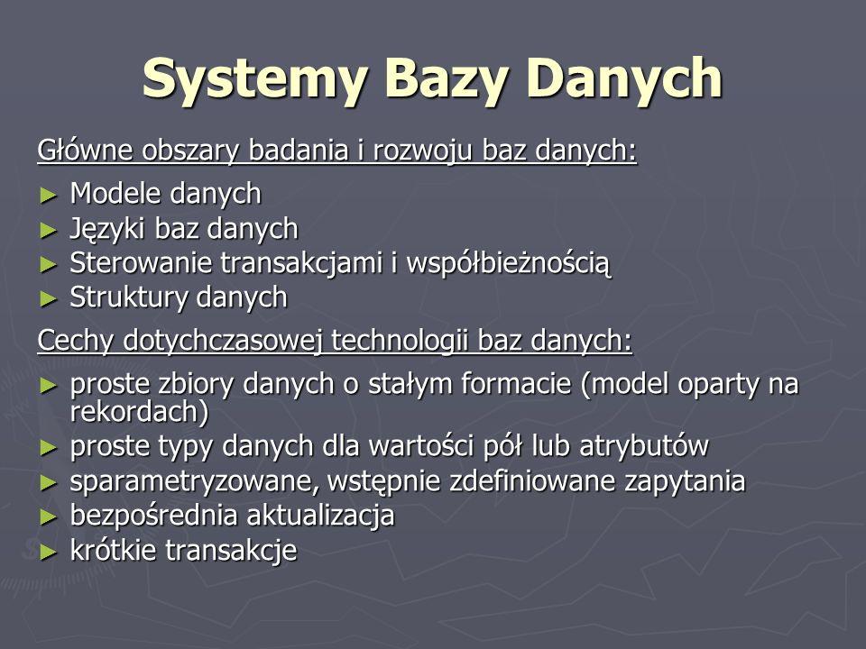 Systemy Bazy Danych Główne obszary badania i rozwoju baz danych: Modele danych Modele danych Języki baz danych Języki baz danych Sterowanie transakcja