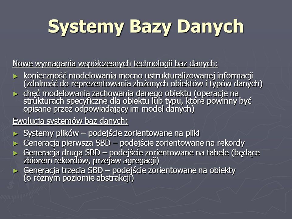 Systemy Bazy Danych Nowe wymagania współczesnych technologii baz danych: konieczność modelowania mocno ustrukturalizowanej informacji (zdolność do rep