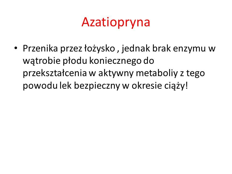 Azatiopryna Przenika przez łożysko, jednak brak enzymu w wątrobie płodu koniecznego do przekształcenia w aktywny metaboliy z tego powodu lek bezpieczn