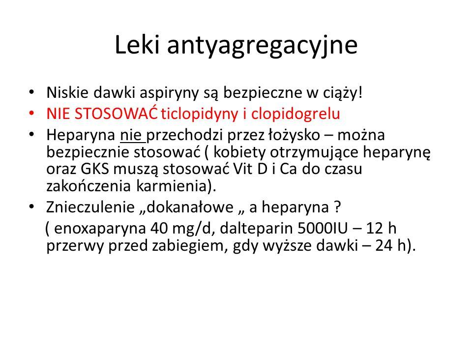 Leki antyagregacyjne Niskie dawki aspiryny są bezpieczne w ciąży! NIE STOSOWAĆ ticlopidyny i clopidogrelu Heparyna nie przechodzi przez łożysko – możn