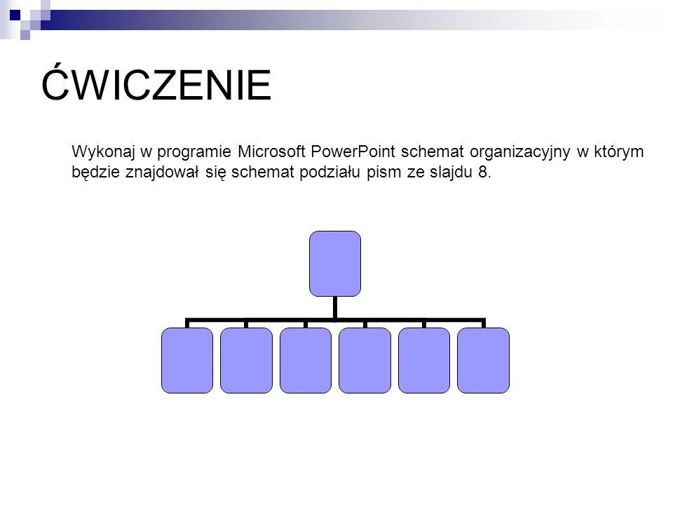 ĆWICZENIE Wykonaj w programie Microsoft PowerPoint schemat organizacyjny w którym będzie znajdował się schemat podziału pism ze slajdu 8.