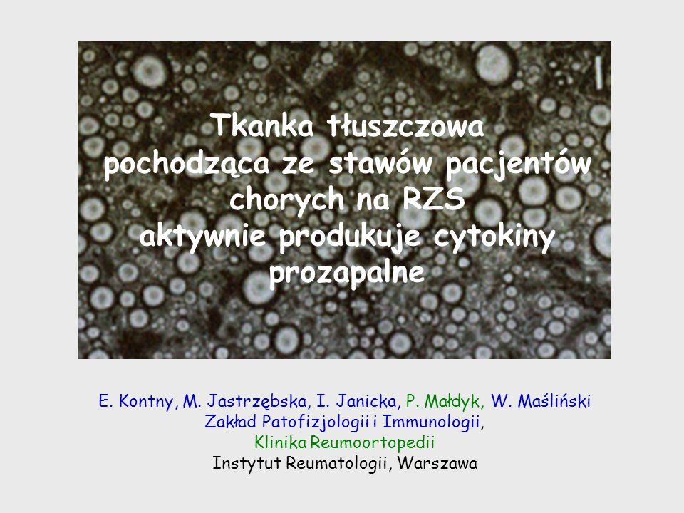 Wnioski 1.U chorych na RZS tkanka tłuszczowa (wewnątrzstawowa i okołostawowa/podskórna) jest istotnym źródłem cytokin prozapalnych (IL-6, IL-8, TNF) 2.Udział wewnątrzstawowej tkanki tłuszczowej w podtrzymywaniu sieci cytokinowej wydaje się ważniejszy, gdyż wykazuje ona większą reaktywność na cytokiny (TNF, IFN ) i wytwarza większe ilości IL-6 3.TNF może wpływać na tkankę tłuszczową drogą autokrynową 4.Wydaje się, że także IL-15 może autokrynnie wpływać na metabolizm stawowej tkanki tłuszczowej, gdyż tkanka ta wykazuje ekspresję IL-15 i IL-15Ra.