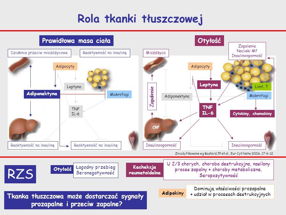 Chorzy na RZS Endoprotezoplastyka stawu kolanowego Eksplanty Tkanki tłuszczowej Błony maziowej Wewnątrzstawowej Podskórnej okołostawowej (z miejsca założenia szwu) 100 mg tkanki/ml DMEM/ 18 godz LPS (1 g/ml), IL-1 (1 ng/ml),TNF (10 ng/ml), IL-15, IL-17, IL-23 (10 i 40 ng/ml) Hodowla in vitro: Nadsącza hodowlaneTkanka Stężenie IL-6, IL-8,TNF (ELISA) Ekspresja mRNA kodującego cytokiny/receptory (RT-PCR) Czy tkanka tłuszczowa związana ze stawem wytwarza cytokiny prozapalne?