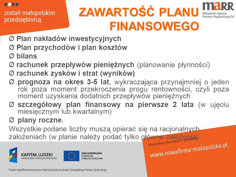 ZAWARTOŚĆ PLANU FINANSOWEGO Ø Plan nakładów inwestycyjnych Ø Plan przychodów i plan kosztów Ø bilans Ø rachunek przepływów pieniężnych (planowanie pły