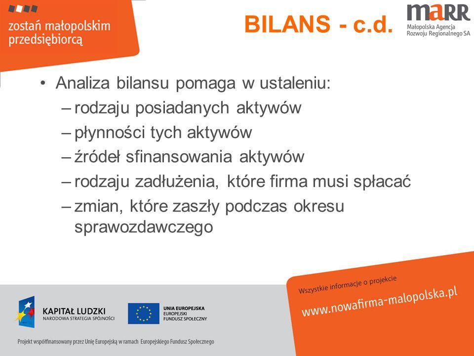 BILANS - c.d. Analiza bilansu pomaga w ustaleniu: –rodzaju posiadanych aktywów –płynności tych aktywów –źródeł sfinansowania aktywów –rodzaju zadłużen