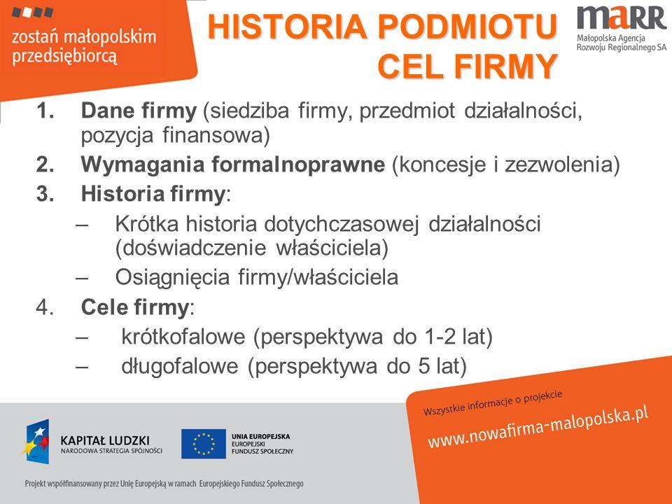 HISTORIA PODMIOTU CEL FIRMY 1.Dane firmy (siedziba firmy, przedmiot działalności, pozycja finansowa) 2.Wymagania formalnoprawne (koncesje i zezwolenia