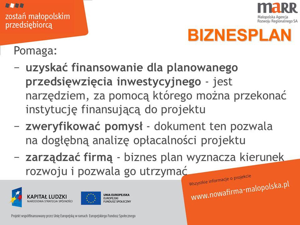 BIZNESPLAN Pomaga: uzyskać finansowanie dla planowanego przedsięwzięcia inwestycyjnego - jest narzędziem, za pomocą którego można przekonać instytucję