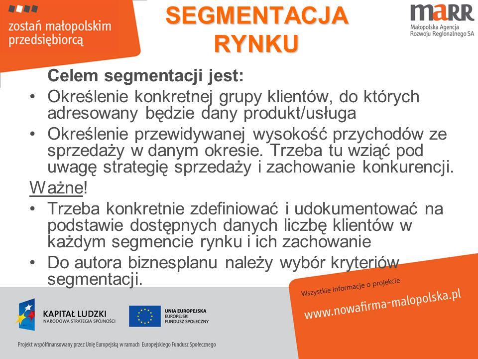 SEGMENTACJA RYNKU Celem segmentacji jest: Określenie konkretnej grupy klientów, do których adresowany będzie dany produkt/usługa Określenie przewidywa