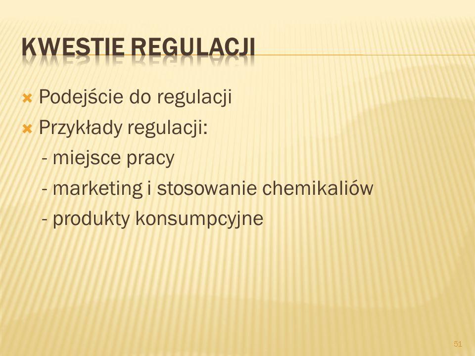 Podejście do regulacji Przykłady regulacji: - miejsce pracy - marketing i stosowanie chemikaliów - produkty konsumpcyjne 51