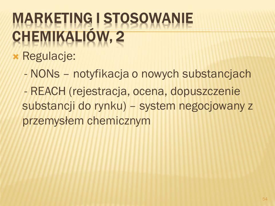 Regulacje: - NONs – notyfikacja o nowych substancjach - REACH (rejestracja, ocena, dopuszczenie substancji do rynku) – system negocjowany z przemysłem