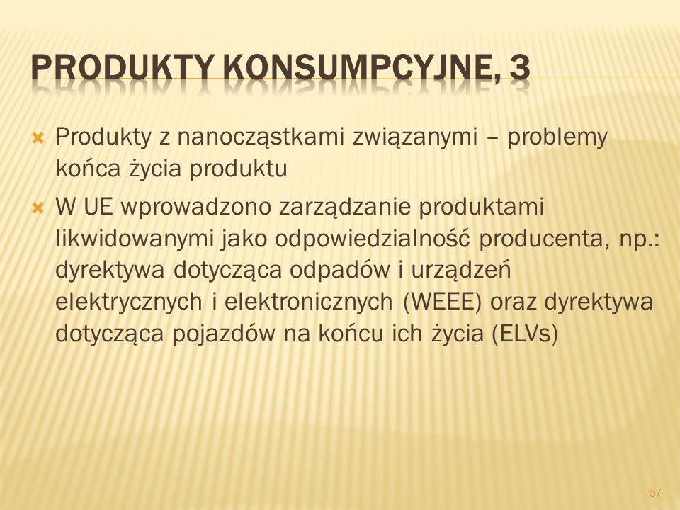 Produkty z nanocząstkami związanymi – problemy końca życia produktu W UE wprowadzono zarządzanie produktami likwidowanymi jako odpowiedzialność produc