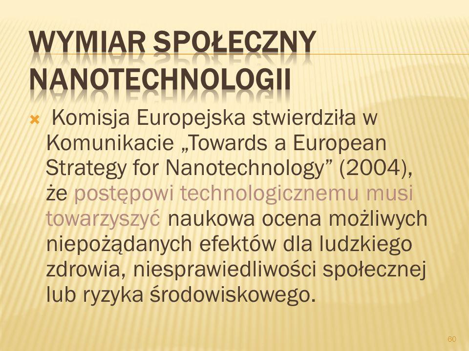 Komisja Europejska stwierdziła w Komunikacie Towards a European Strategy for Nanotechnology (2004), że postępowi technologicznemu musi towarzyszyć nau