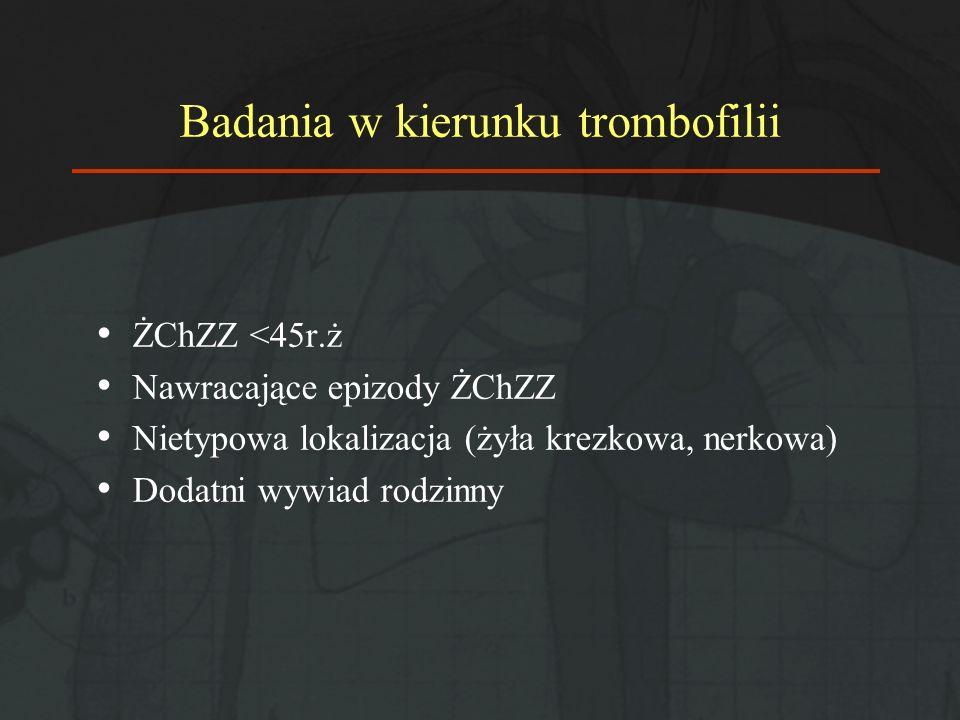 Badania w kierunku trombofilii ŻChZZ <45r.ż Nawracające epizody ŻChZZ Nietypowa lokalizacja (żyła krezkowa, nerkowa) Dodatni wywiad rodzinny
