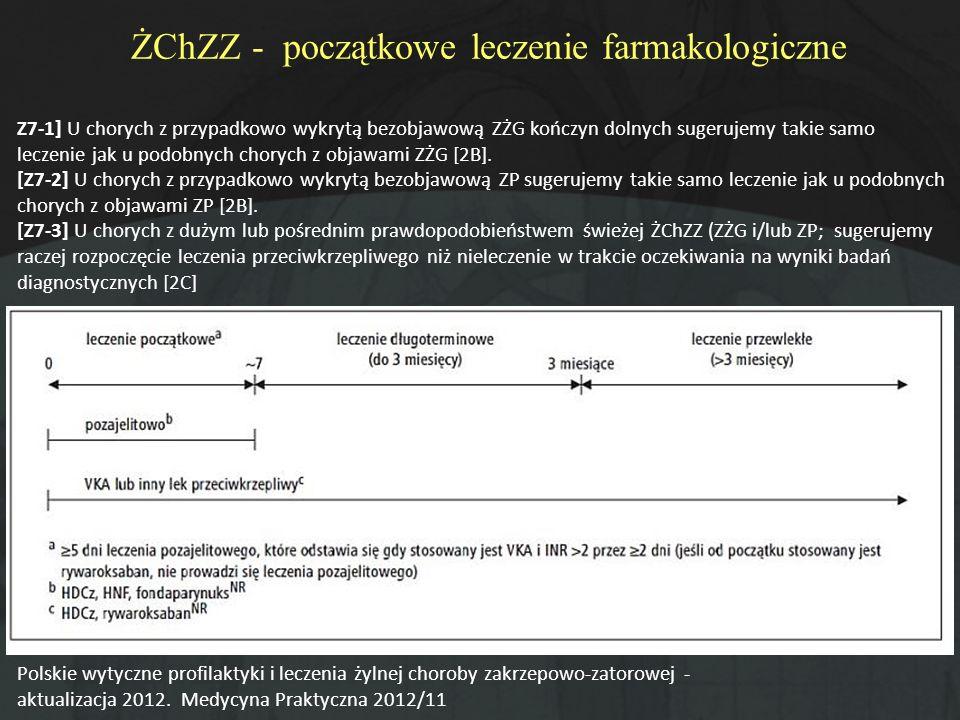 ŻChZZ - początkowe leczenie farmakologiczne Polskie wytyczne profilaktyki i leczenia żylnej choroby zakrzepowo-zatorowej - aktualizacja 2012. Medycyna