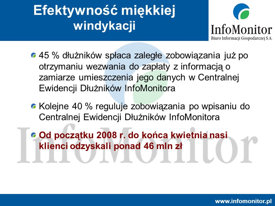 www.infomonitor.pl Efektywność miękkiej windykacji 45 % dłużników spłaca zaległe zobowiązania już po otrzymaniu wezwania do zapłaty z informacją o zam