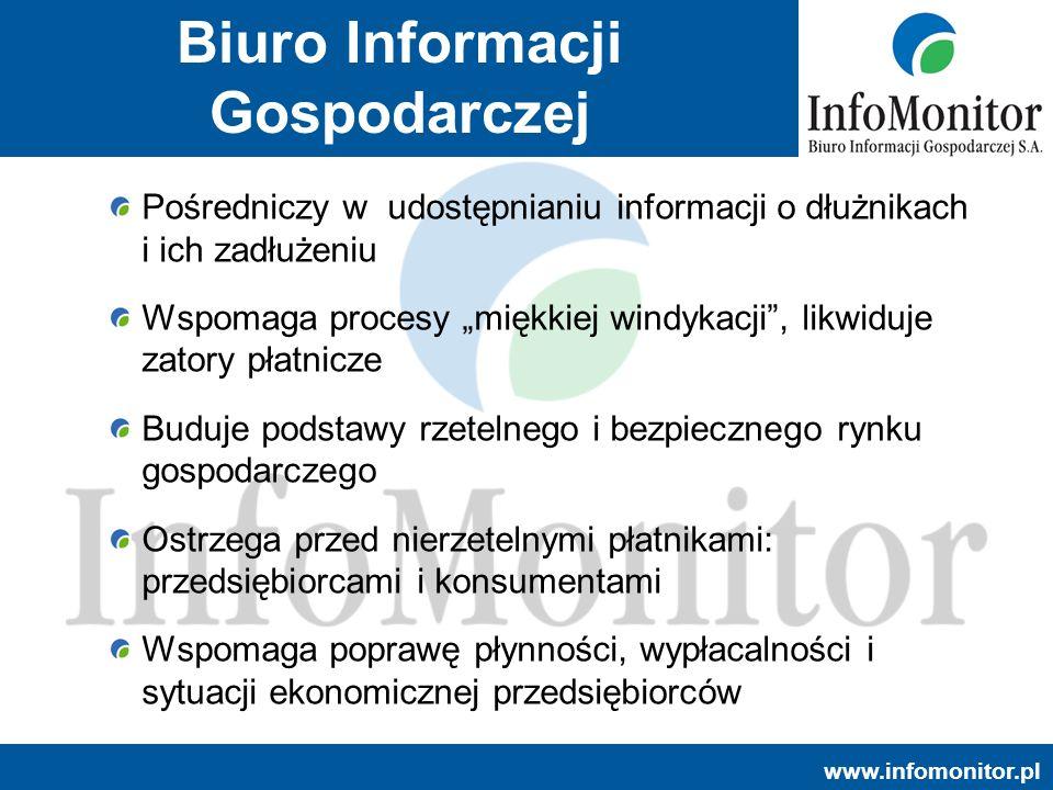 www.infomonitor.pl Pośredniczy w udostępnianiu informacji o dłużnikach i ich zadłużeniu Wspomaga procesy miękkiej windykacji, likwiduje zatory płatnic