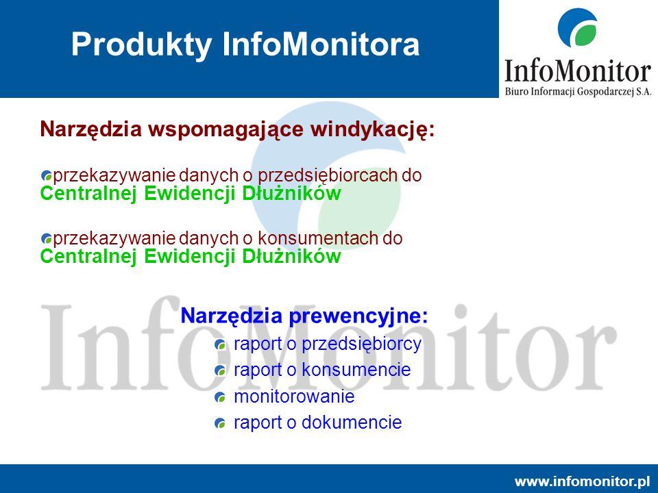 www.infomonitor.pl Produkty InfoMonitora Narzędzia prewencyjne: raport o przedsiębiorcy raport o konsumencie monitorowanie raport o dokumencie Narzędz