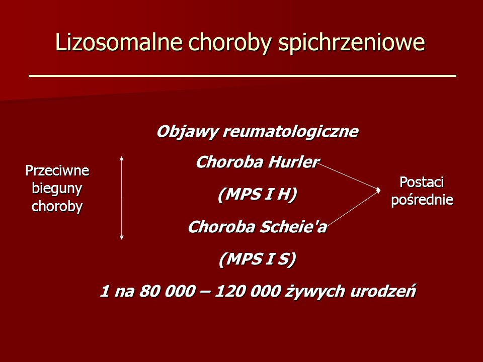 Lizosomalne choroby spichrzeniowe Objawy reumatologiczne Choroba Hurler (MPS I H) Choroba Scheie'a (MPS I S) 1 na 80 000 – 120 000 żywych urodzeń Post