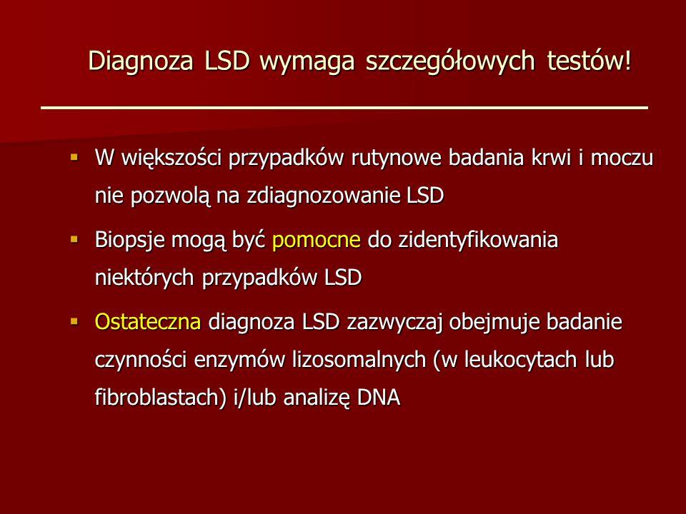 Diagnoza LSD wymaga szczegółowych testów.