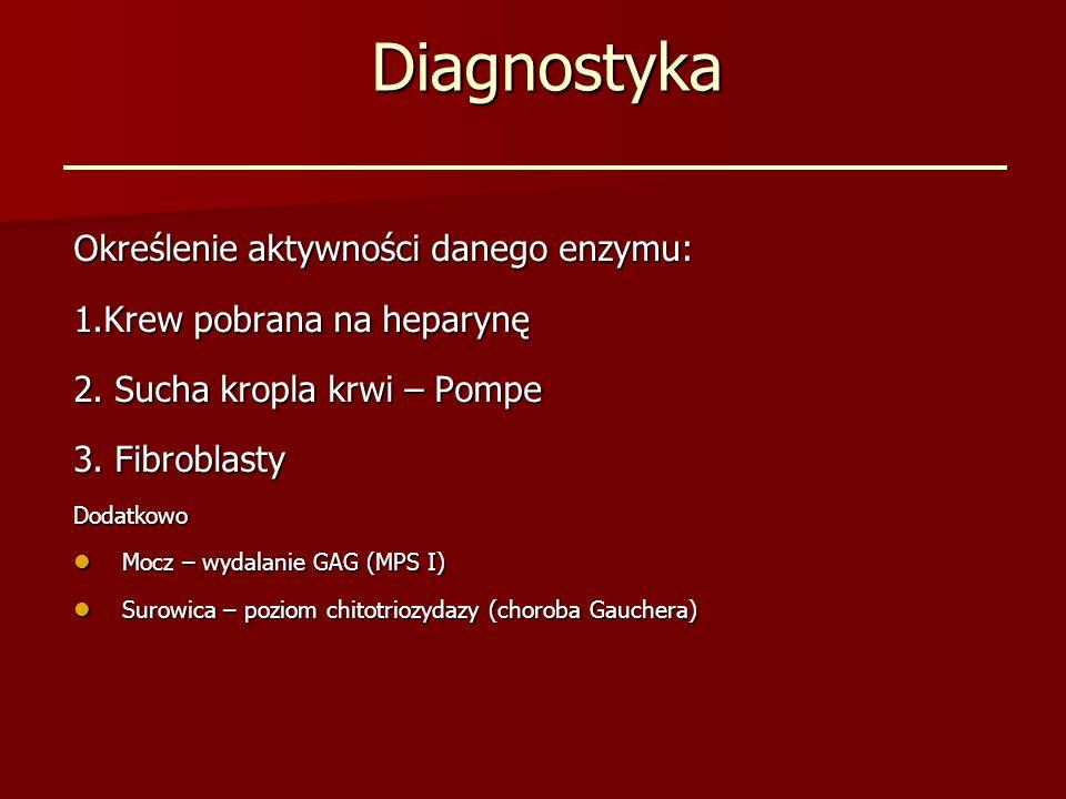 Diagnostyka Określenie aktywności danego enzymu: 1.Krew pobrana na heparynę 2. Sucha kropla krwi – Pompe 3. Fibroblasty Dodatkowo Mocz – wydalanie GAG
