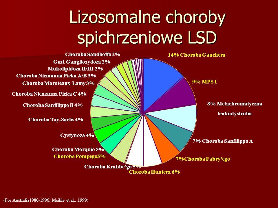 Cystynoza 4% Choroba Tay-Sachs 4% Choroba Sanfilippo B 4% Choroba Niemanna Picka C 4% Gm1 Gangliozydoza 2% Choroba Niemanna Picka A/B 3% Mukolipidoza II/III 2% Choroba Maroteaux-Lamy 3% Lizosomalne choroby spichrzeniowe LSD (For Australia1980-1996; Meikle et al., 1999) 8% Metachromatyczna leukodystrofia 7% Choroba Sanfilippo A Choroba Krabbego 5% Choroba Morquio 5% Choroba Sandhoffa 2% 9% MPS I 7%Choroba Fabryego Choroba Pompego5% Choroba Huntera 6% 14% Choroba Gauchera