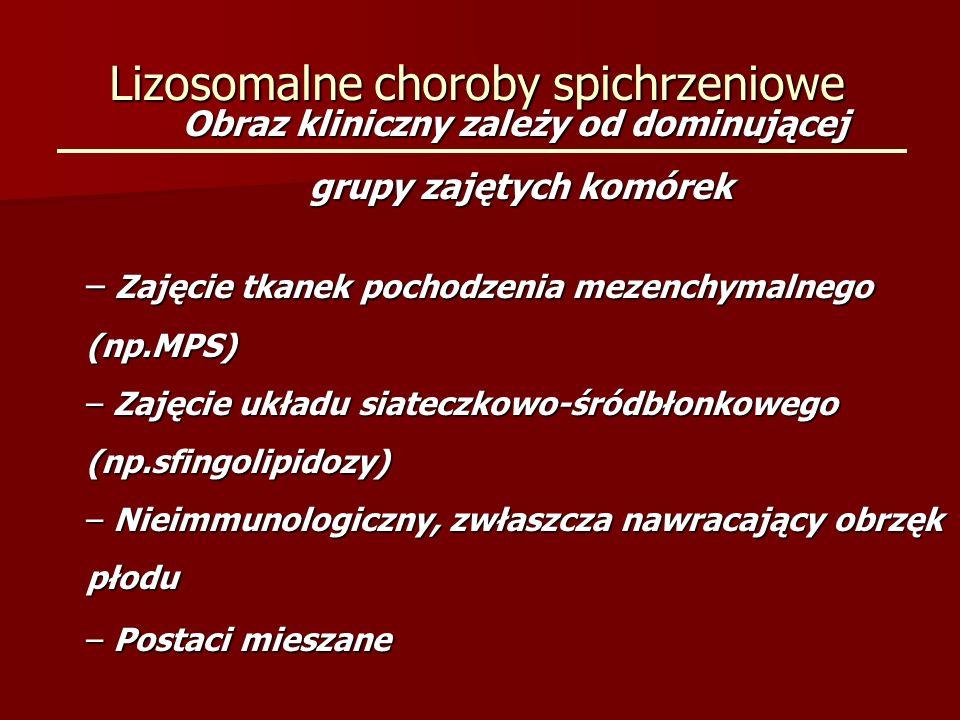 Lizosomalne choroby spichrzeniowe Leczenie: – Przeszczep szpiku – Enzymatyczna terapia zastępcza – Lecznicze zmniejszenie produkcji substratu – Leczenie czaperonami